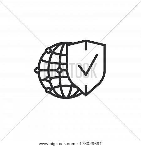 Network protection symbol. Globe and shield line icon outline vector sign linear pictogram isolated on white. logo illustration