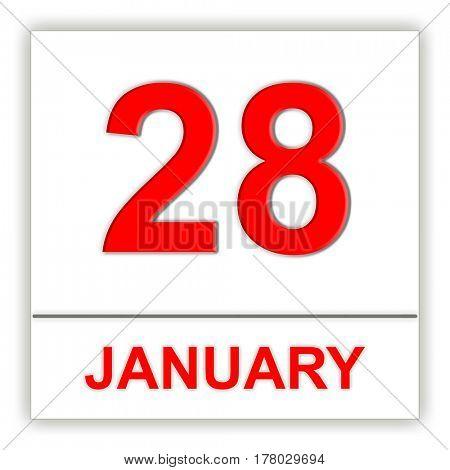 January 28. Day on the calendar. 3D illustration