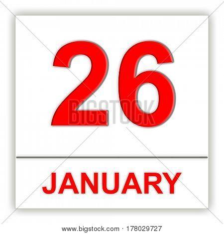 January 26. Day on the calendar. 3D illustration