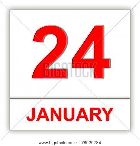 January 24. Day on the calendar. 3D illustration