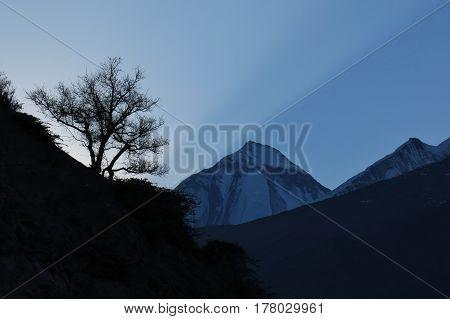 Sunset over mount Dhaulagiri. Annapurna Conservation Area Nepal.