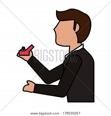 cartoon man groom ring image vector illustration eps 10