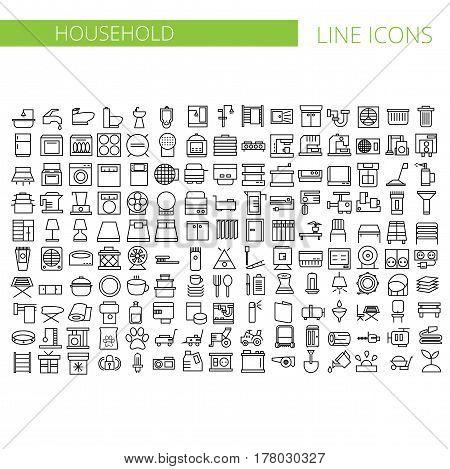 Household appliances line icons - big set. Vector illustration