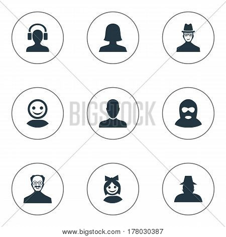 Vector Illustration Set Of Simple Human Icons. Elements Internet Profile, Girl Face, Woman User And Other Synonyms Man, Inspector And Web.