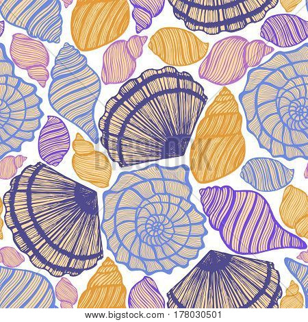 vector hand drawn seamless colored background with seashells