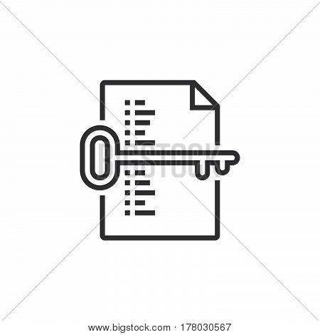 keyword list symbol. Key and document line icon outline vector sign linear pictogram isolated on white. logo illustration