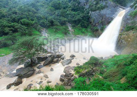 waterfall in Sri Lanka after rain