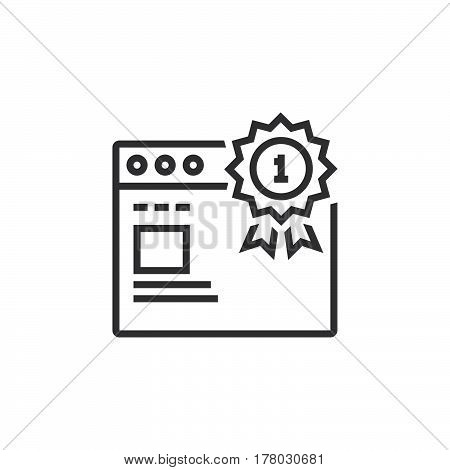 Top ranking website symbol. first place medal and web browser line icon outline vector sign linear pictogram isolated on white. logo illustration
