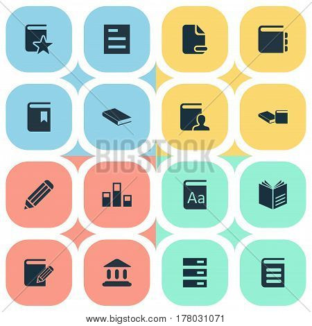 Vector Illustration Set Of Simple Reading Icons. Elements Author, Novel, Alphabet And Other Synonyms Page, Note And Reading.