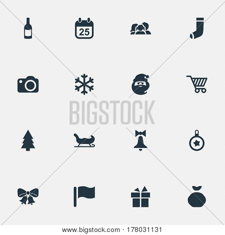 Vector Illustration Set Of Simple New Year Icons. Elements Bag, Photography, Relatives And Other Synonyms Basket, Champagne And Santa.