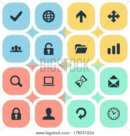 Vector Illustration Set Of Simple Apps Icons. Elements Arrows, Notebook, Statistics And Other Synonyms Zoom, Hour And Globe.