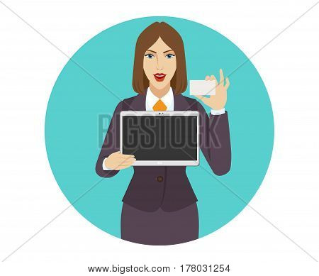 Businesswoman holding a digital tablet PC and showing business card. Portrait of businesswoman in a flat style. Vector illustration.