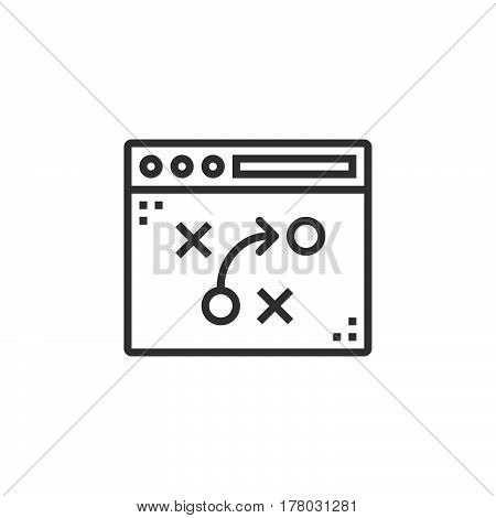 tactics strategy planning line icon outline vector sign linear pictogram isolated on white. logo illustration