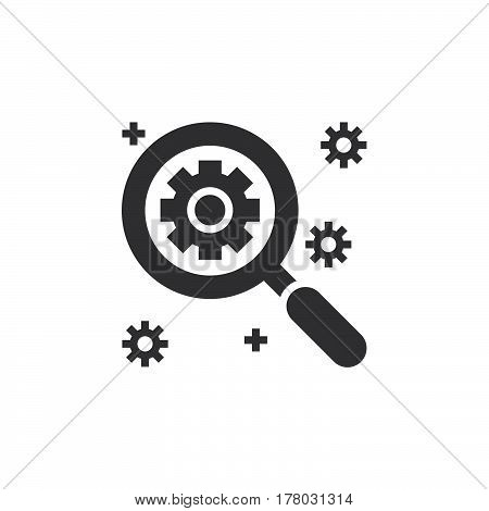 SEO Search engine optimization symbol. magnifying glass and gear icon vector filled flat sign solid pictogram isolated on white logo illustration