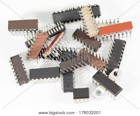 computer electronic chips isolated on white background