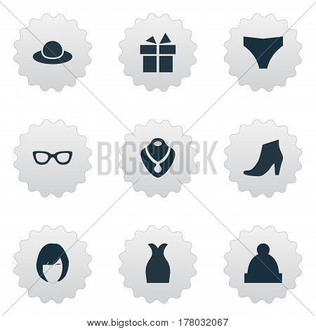 Vector Illustration Set Of Simple Garments Icons. Elements Elegant Headgear, Glasses, Footwear And Other Synonyms Optic, Glasses And Rich.
