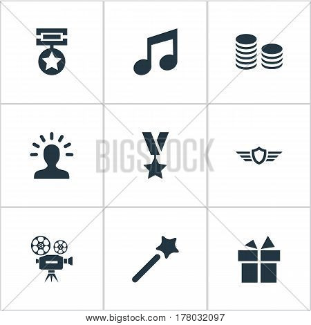 Vector Illustration Set Of Simple Achievement Icons. Elements Medal, Avatar, Cinema And Other Synonyms Magic, Camera And Profile.