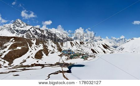 Panorama from the top of the mountain Gokyo Ri Nepal. Beautiful Gokyo lake covered with snow.