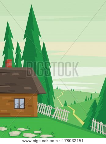 Digital vector abstract background with a house in the forest with fence and road, pine trees, flat triangle style