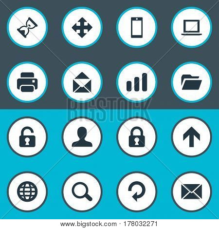 Vector Illustration Set Of Simple Application Icons. Elements Dossier, Refresh, Statistics And Other Synonyms Message, Zoom And Enlarge.