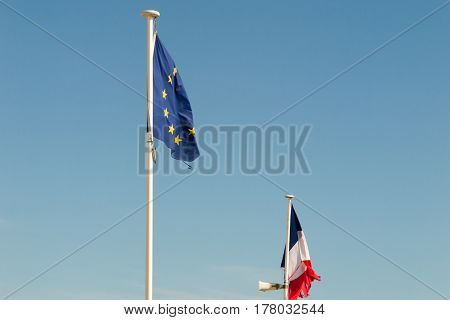 Flag In Blue Sky French And Europe