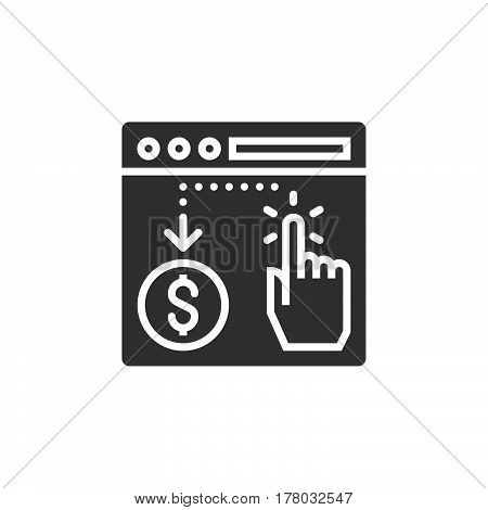 Pay per click icon vector filled flat sign solid pictogram isolated on white logo illustration