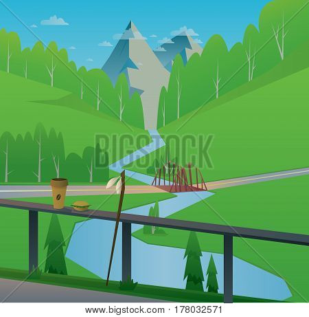 Digital vector abstract background with a bridge and river, coffee and food, rod, mountains and green heels with forest, blue sky and clouds, flat triangle style