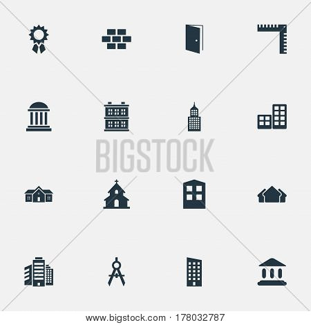 Vector Illustration Set Of Simple Construction Icons. Elements Residence, Engineer Tool, Shelter And Other Synonyms Shanty, Construction And Block.