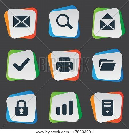 Vector Illustration Set Of Simple Apps Icons. Elements Check, Statistics, Lock And Other Synonyms Printout, Chart And Closed.