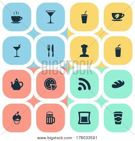 Vector Illustration Set Of Simple Beverage Icons. Elements Fork With Knife, Tea, Espresso And Other Synonyms Wireless, Smoothie And Cocktail.