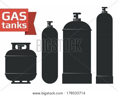 Various gas tanks sihlouette icons set. Oxygene, propane, butane, methane. Monochrome vector illustration