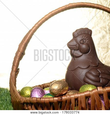 Easter Chocolate Eggs And Hen
