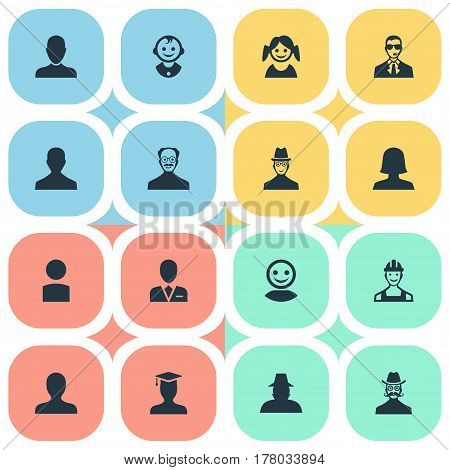 Vector Illustration Set Of Simple Member Icons. Elements Little Girl, Insider, Proletarian And Other Synonyms Whiskers, Mustaches And Insider.