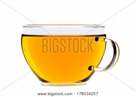 Cup of tea green chinese gunpowder tea isolated on white clipping-path included