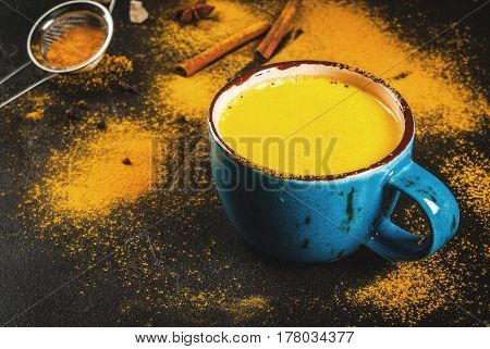 Traditional Indian drink turmeric milk is golden milk with cinnamon cloves pepper and turmeric. On a concrete table with spices on the background. In a large cup Copy space toned