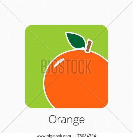 Orange Icon Simple Flat Vector Illustration. Fresh Orange Sign