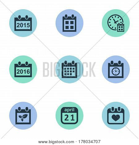 Vector Illustration Set Of Simple Date Icons. Elements 2016 Calendar, Heart, Reminder And Other Synonyms Calendar, History And Reminder.