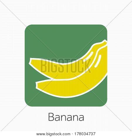 Banana Icon Simple Flat Vector Illustration. Fresh Banana Sign