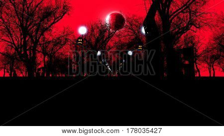 Pumpkins the Moon lampstands and trees on a red background. 3d illustration of halloween concept.