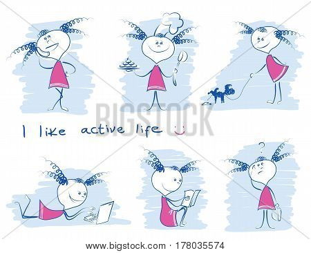 Young Girl In Variouse Lifestyle.vector Doodle Hand Draw Illustrations