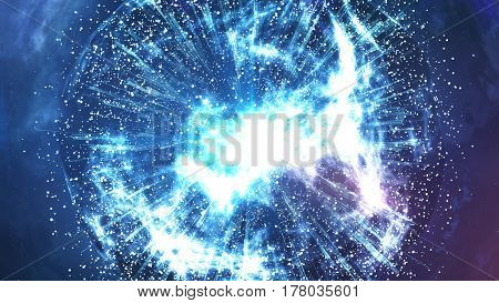 3d rendering. Abstract Big Bang explosion of a star or a planet in a galaxy of an unknown universe.