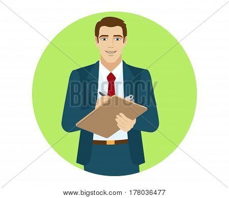 Businessman writes on the clipboard closeup. Portrait of businessman in a flat style. Vector illustration.
