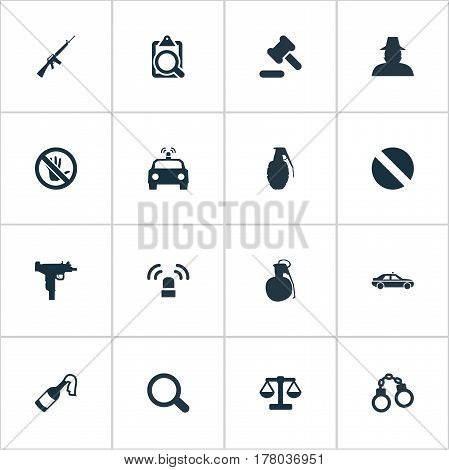 Vector Illustration Set Of Simple Offense Icons. Elements Police Car, Explode, Siren And Other Synonyms Agent, Gun And Bottle.