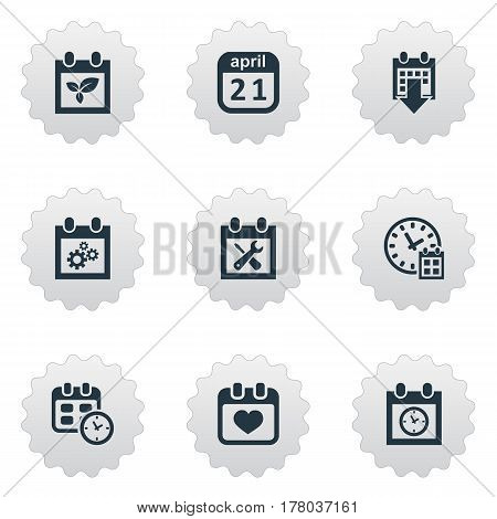 Vector Illustration Set Of Simple Date Icons. Elements Almanac, Plant, Planner And Other Synonyms April, Wheel And Reminder.