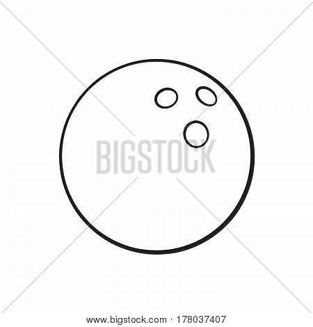 Vector illustration. Hand drawn doodle of bowling ball. Sports equipment. Cartoon sketch. Decoration for greeting cards posters emblems wallpapers