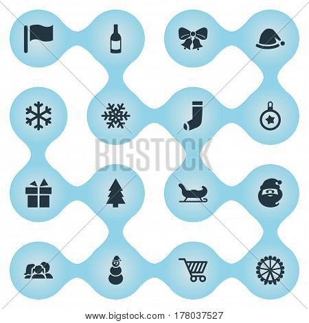 Vector Illustration Set Of Simple Christmas Icons. Elements Ice Man, Pin, Drink Bottle And Other Synonyms Snowman, Character And Gift.
