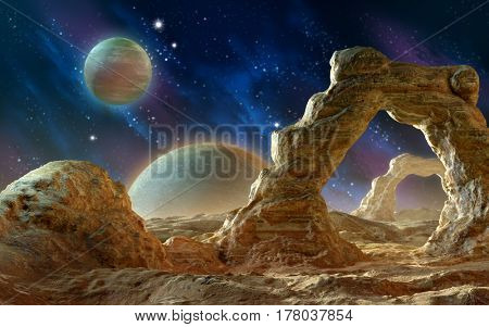 Spacescape with rock arches. 3D illustration.