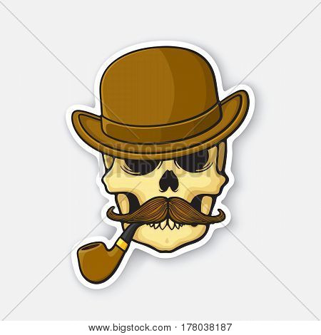 Vector illustration. Skull of a gentleman with a mustache and smoking pipe in bowler hat. Sticker in cartoon style with contour. Decoration for greeting cards, patches, prints for clothes, badges, emblems