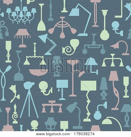 Vector seamless pattern with lamps. Can be used for textile website background book cover packaging.