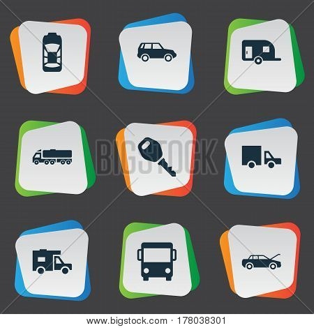 Vector Illustration Set Of Simple Car Icons. Elements Repair, Tour Bus, Shipment And Other Synonyms Transport, Lock And Vehicle.